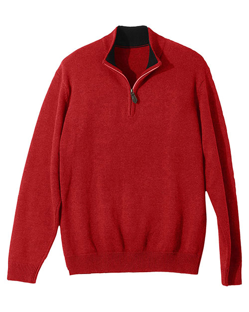 Edwards 712ED QUARTER ZIP SWEATER RED at bigntallapparel