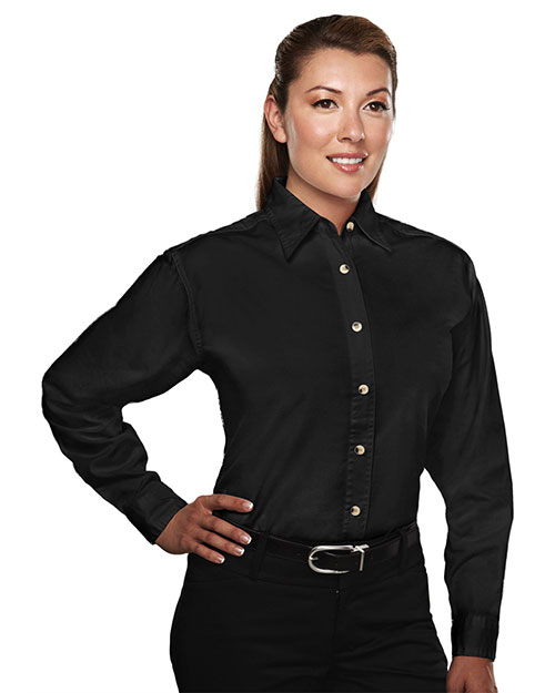Tri-Mountain 712 Women 60/40 Easy Care Long Sleeve Twill Shirt Black at bigntallapparel