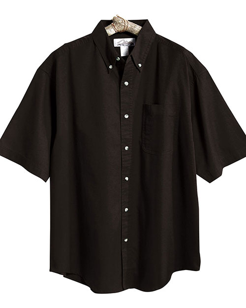 Tri-Mountain 718 Men Easy Care Short Sleeve Twill Dress Shirt Black at bigntallapparel