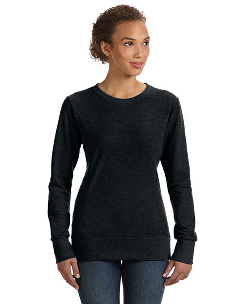 Anvil 72000L Ladies' Ringspun French Terry Mid-Scoop Sweatshirt BLACK at bigntallapparel