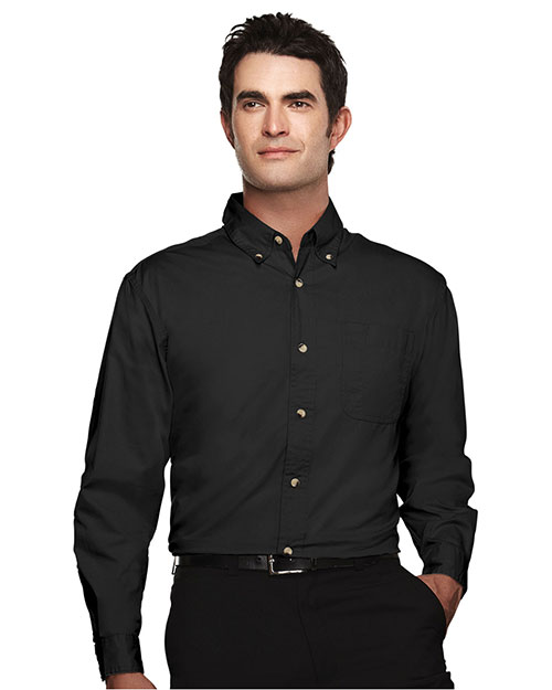 Tri-Mountain 720 Mens Easy Care Long Sleeve Twill Dress Shirt Black at bigntallapparel