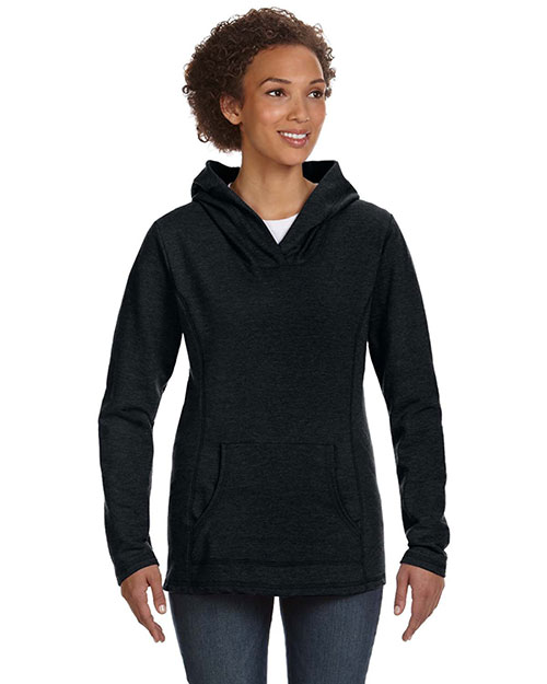 Anvil 72500L Ladies' Ringspun French Terry Crossneck Hooded Sweatshirt BLACK at bigntallapparel