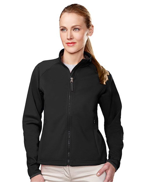 Tri-Mountain 7320 Womens polyknit fleece full zip jacket. BLACK/CHARCOAL at bigntallapparel