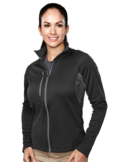 Tri-Mountain 7357 Womens 100% Polyester Micro fleece long sleeve jacket BLACK/CHARCOAL at bigntallapparel