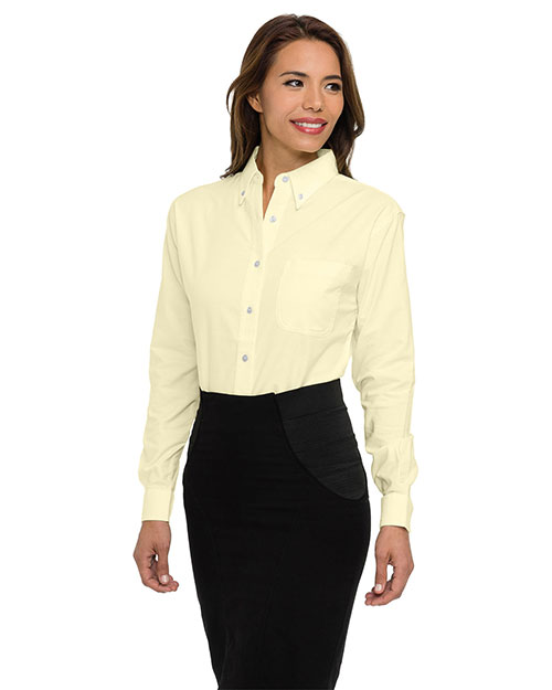 Tri-Mountain 742 Womens 60/40 stain resistant long sleeve oxford shirt. BUTTER at bigntallapparel