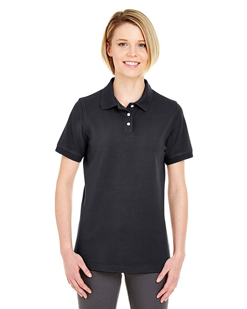 Ultraclub 7500L Women Classic Platinum Polo Black at bigntallapparel