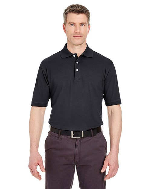 Ultraclub 7500    ® Men's Classic Platinum Polo  Black at bigntallapparel