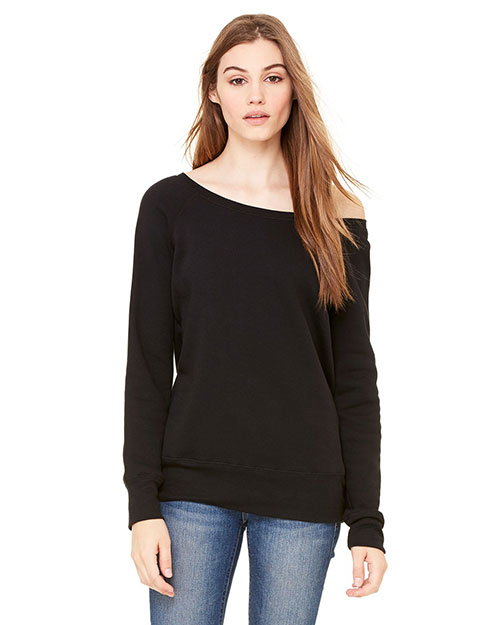 Bella 7501 Ladies' Sponge Fleece Wide Neck Sweatshirt BLACK at bigntallapparel
