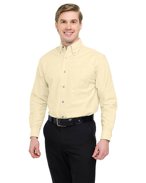 Tri-Mountain 750 Men Stain Resistant Long Sleeve Oxford Dress Shirt Butter at bigntallapparel