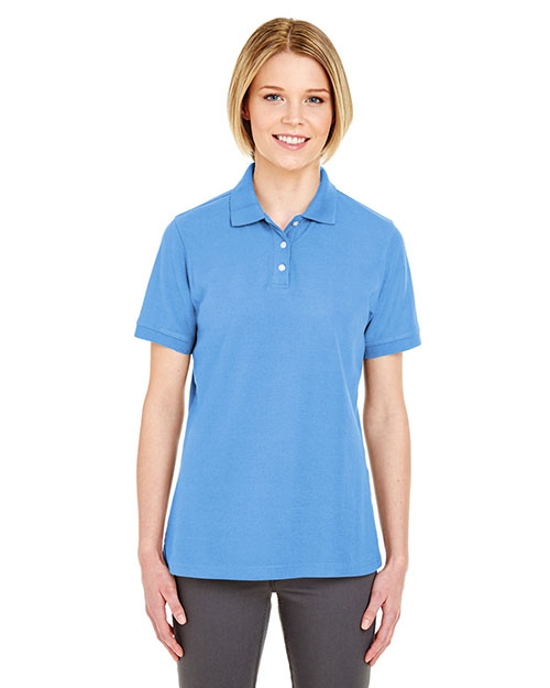 Ultraclub 7510L    ® Ladies' Platinum Honeycomb Piqué Polo  Bimini Blue at bigntallapparel