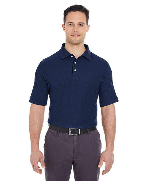 Ultraclub 7510    ® Men's Platinum Honeycomb Piqué Polo  Navy at bigntallapparel