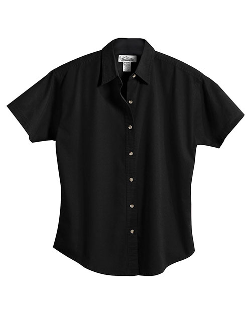 Tri-Mountain 761 Women 60/40 Stain Resistant Short Sleeve Twill Shirt Black at bigntallapparel