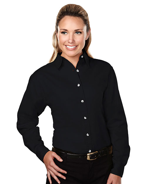 Tri-Mountain 762 Womens 60/40 stain resistant long sleeve twill shirt. BLACK at bigntallapparel