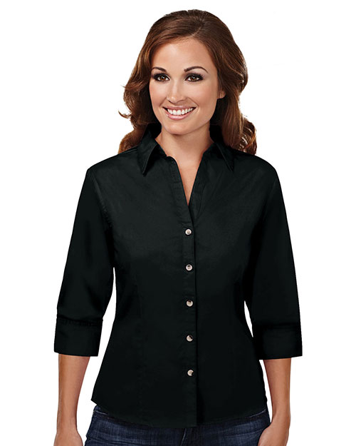 Tri-Mountain 763 Womens 60/40 stain resistant open neck 3/4 sleeve shirt. BLACK at bigntallapparel