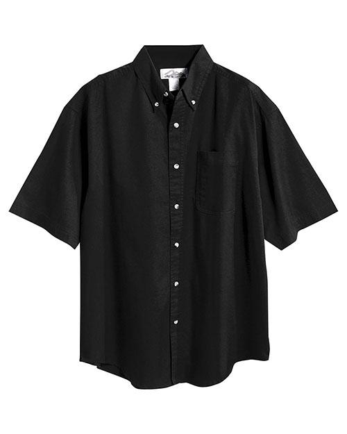 Tri-Mountain 768 Men Stain Resistant Short Sleeve Twill Dress Shirt Black at bigntallapparel