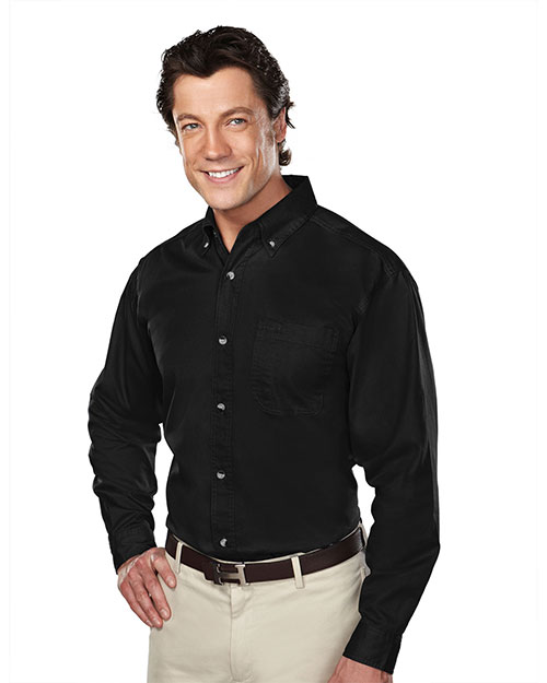 Tri-Mountain 770 Mens Stain Resistant Long Sleeve Twill Dress Shirt Black at bigntallapparel