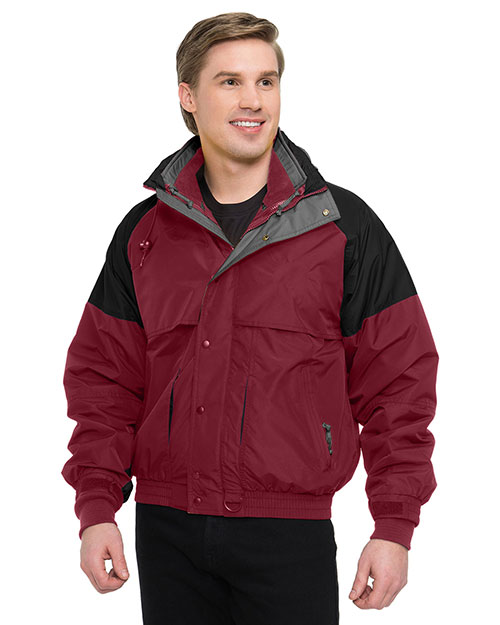 Tri-Mountain 7800 Men Big And Tall Nylon 3-In-1 Jacket Maroon/Black/Charcoal at bigntallapparel