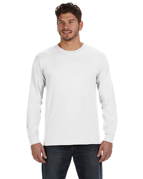 Anvil 784AN Ringspun Heavyweight Long-Sleeve T-Shirt WHITE at bigntallapparel