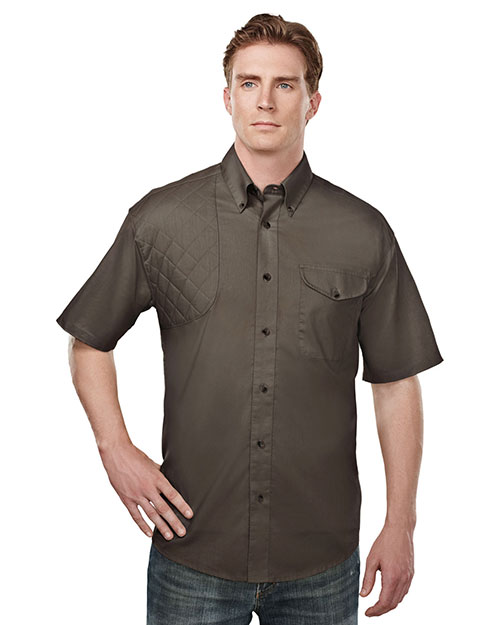 Tri-Mountain 785 Men's Cotton/Poly 60/40 SS Woven Shooting Shirt, BROWN at bigntallapparel