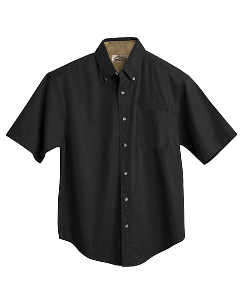 Tri-Mountain 788 Big and Tall Mens  Short Sleeve Peached Twill Dress Shirt Black/Camel at bigntallapparel