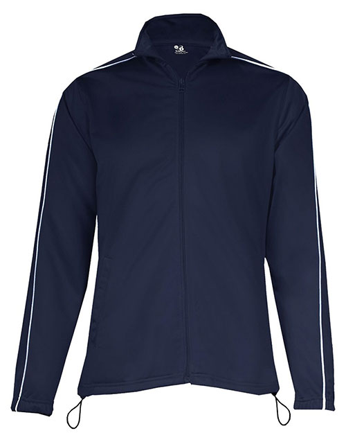 Badger 7901     Ladies 100% Polyester Razor Full Zipper Jacket  Navy/ White at bigntallapparel