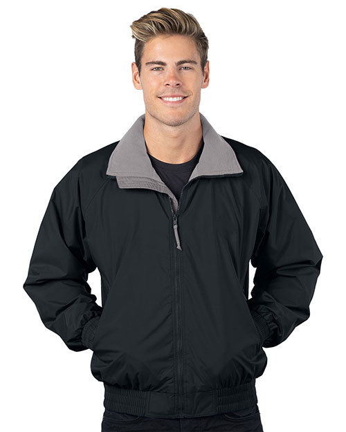 Tri-Mountain 8000 Men Big And Tall Nylon Jacket With Lightweight Fleece Lining Black/Gray at bigntallapparel