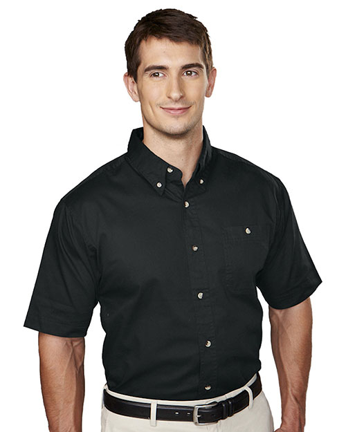 Tri-Mountain 808 Mens Short Sleeve Twill Dress Shirt Black at bigntallapparel