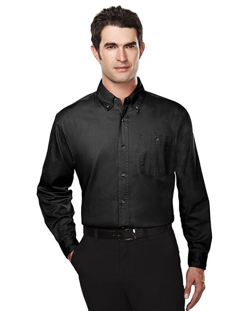 Tri-Mountain 810 Men Cotton Long Sleeve Twill Shirt Black at bigntallapparel