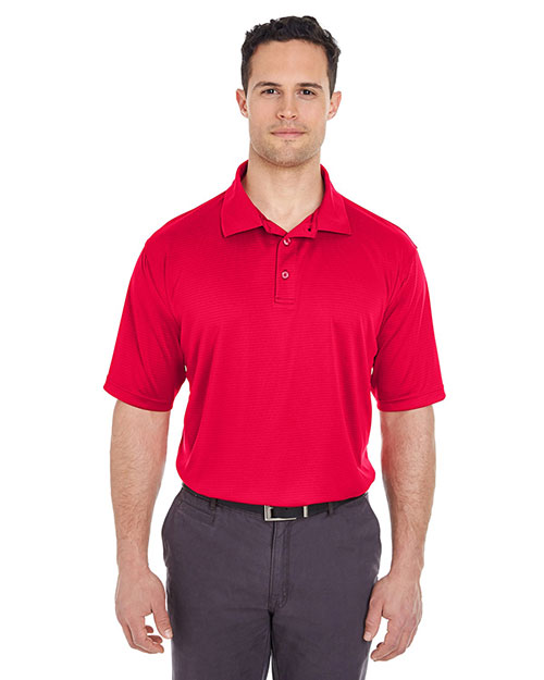 Ultraclub 8220 Men Cool & Dry Jacquard Stripe Polo Red at bigntallapparel