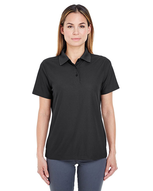 Ultraclub 8240L     Ladies' Cool & Dry Pebble-Knit Polo  Black at bigntallapparel