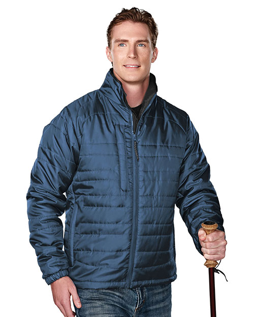 Tri-Mountain 8255 Men 100% Polyester Rib- Stop Long Sleeve Quilt Jacket With Water Resistent Atlantic/Charcoal at bigntallapparel