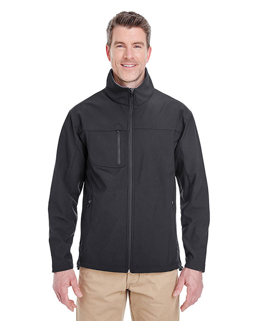 Ultraclub 8280    ® Adult Soft Shell Jacket with Cadet Collar  Black at bigntallapparel