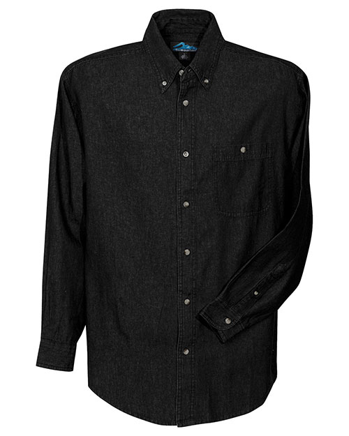 Tri-Mountain 829 Mens Denim Long Sleeve Shirt Black at bigntallapparel