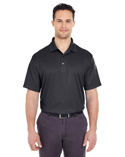Ultraclub 8305    ® Men's Cool & Dry Elite Mini-Check Jacquard Polo  Black at bigntallapparel