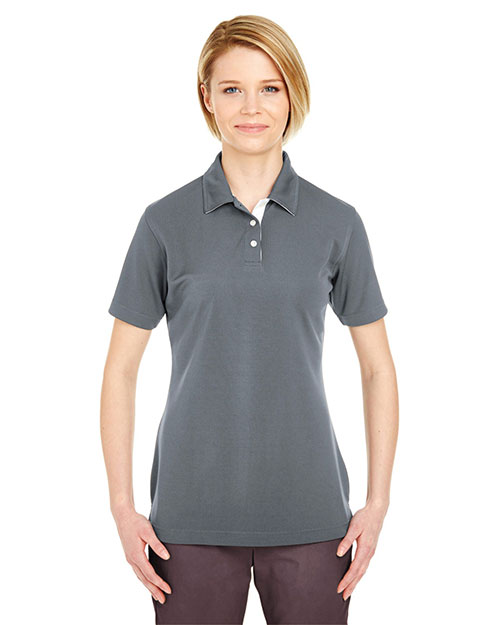 Ultraclub 8325L    ® Ladies' Platinum Performance Birdseye Polo with TempControl Technology  Charcoal at bigntallapparel
