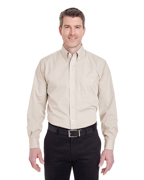 Ultraclub 8340 Men Wrinklefree Endonend Shirt Khaki at bigntallapparel