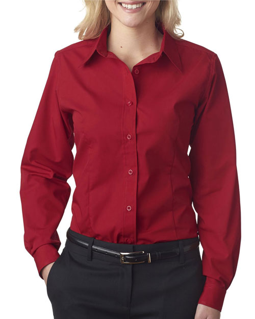 Ultraclub 8355L Women Easycare Broadcloth Red at bigntallapparel