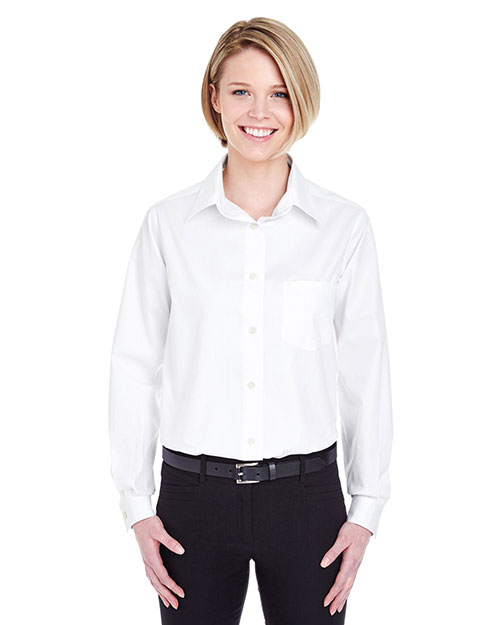 Ultraclub 8361    ® Ladies' Long-Sleeve Performance Pinpoint  White at bigntallapparel