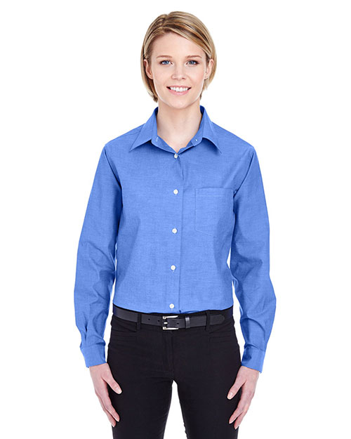 Ultraclub 8361    ® Ladies' Long-Sleeve Performance Pinpoint  French Blue at bigntallapparel