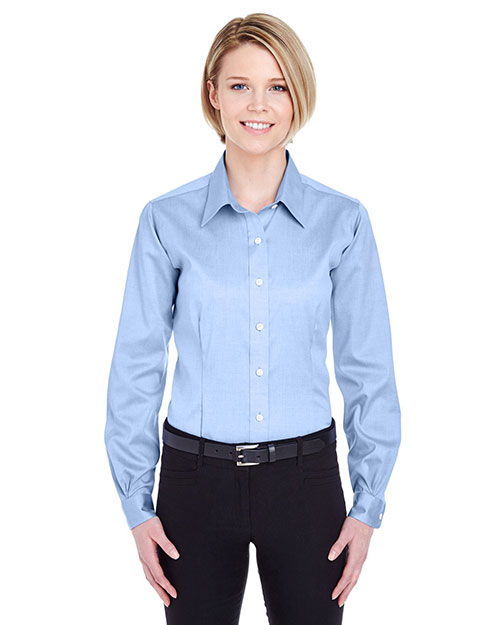 Ultraclub 8381    ® Ladies' Non-Iron Pinpoint Shirt  Blue at bigntallapparel