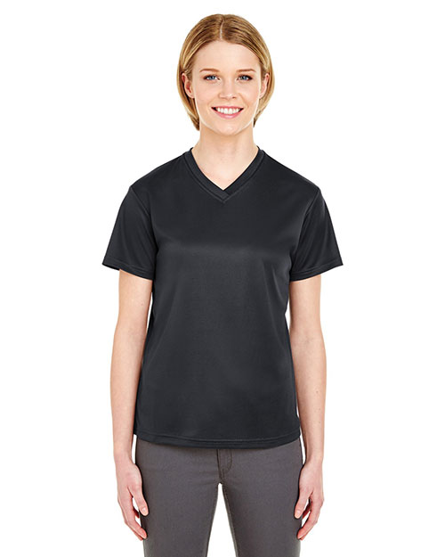 Ultraclub 8400L    ® Ladies' Cool & Dry Sport Mesh V-Neck Tee  Black at bigntallapparel