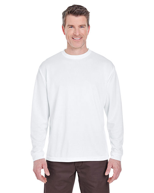 Ultraclub 8401 Long Sleeve Performance T-Shirt White at bigntallapparel