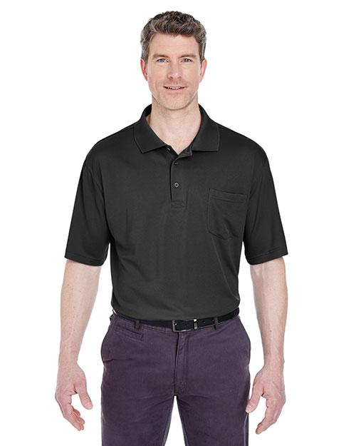 Ultraclub 8405P    ® Adult Cool & Dry Mesh Sport Polo with Pocket  Black at bigntallapparel