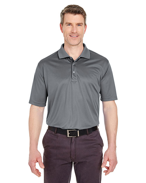 Ultraclub 8405T    ® Men's Tall Cool & Dry Mesh Sport Polo  Charcoal at bigntallapparel