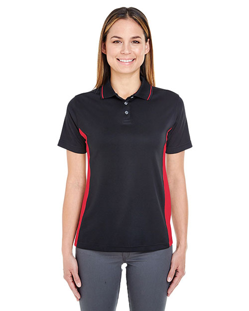 Ultraclub 8406L    ® Ladies' Cool & Dry Sport Two-Tone Polo  Black/ Red at bigntallapparel