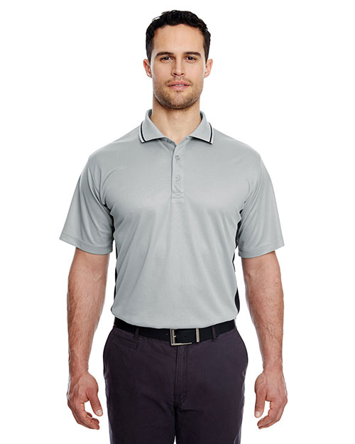 Ultraclub 8406 Men Performance Polo Shirt Heather Grey/ Black at bigntallapparel