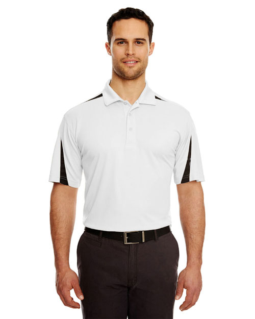 Ultraclub 8408 Mesh Block Polo White/ Grey at bigntallapparel