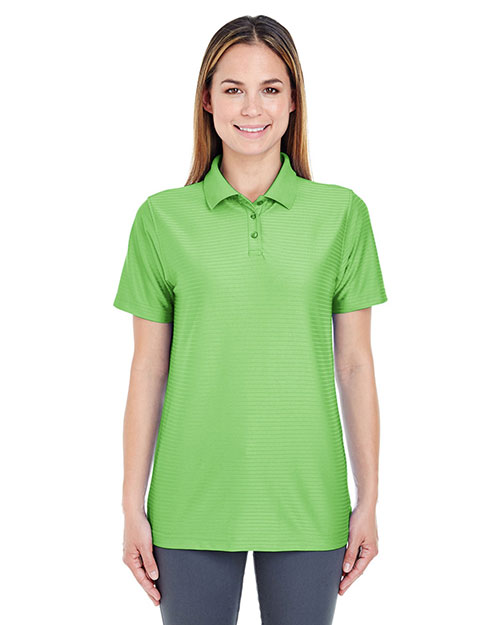 Ultraclub 8413L Women Cool & Dry Elite Tonal Stripe Performance Polo Apple at bigntallapparel
