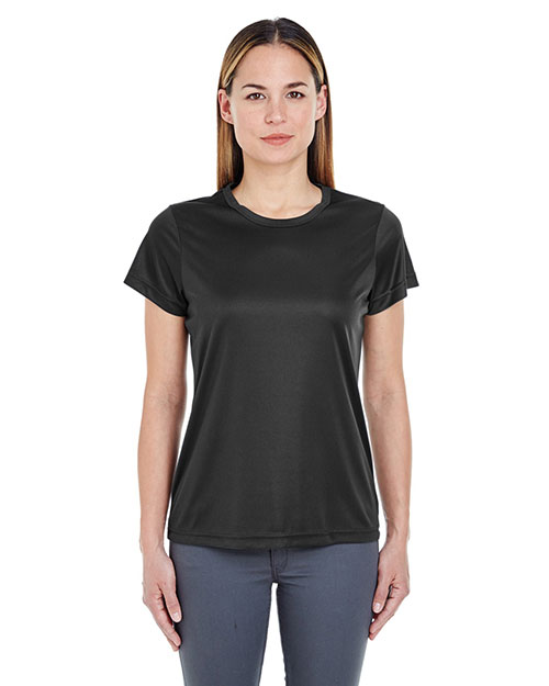 Ultraclub 8420L    ® Ladies' Cool & Dry Sport Performance Interlock Tee  Black at bigntallapparel