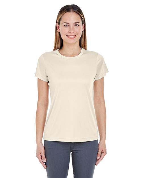 Ultraclub 8420L Women Cool & Dry Sport Performance Interlock Tee Stone at bigntallapparel